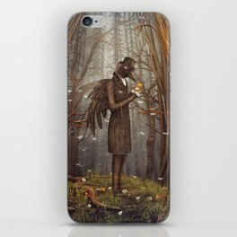 Raven in forest iPhone Skin