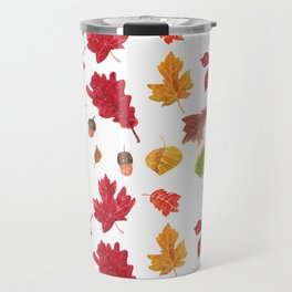 Autumn leaves pattern. Seamless pattern with various hand drawn autumn leaves.  Travel Mug