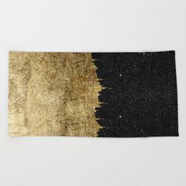 Faux Gold and Black Starry Night Brushstrokes Beach Towel