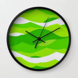 Waves - Lime Green Wall Clock