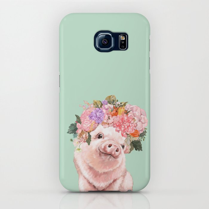 baby pig with flowers crown in pastel green iphone case