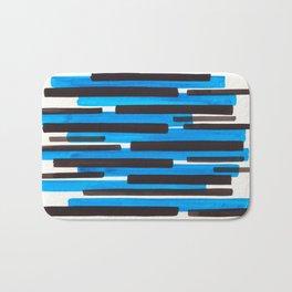 Cerulean Blue Primitive Stripes Mid Century Modern Minimalist Watercolor Gouache Painting Colorful S Bath Mat