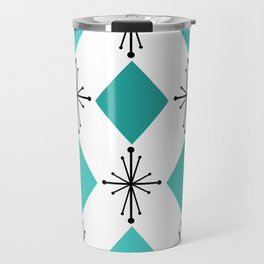 Atomic Age 1950s Diamonds Starbursts Turquoise Travel Mug