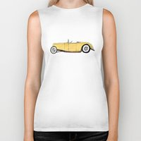 gatsby Biker Tanks featuring Great Gatsby Yellow Roadster by JasonKoons