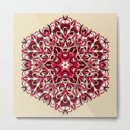 Red geometric Mandala Rich Ornament Metal Print