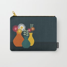 Flower Vases on Dark Background Carry-All Pouch