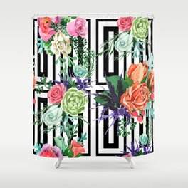 Sophisticated Floral Pattern With Geometric Patterns Shower Curtain