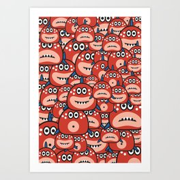 Spot the one eye piranha Art Print