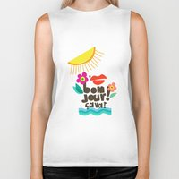 bonjour Biker Tanks featuring Bonjour! by Daily Thoughts