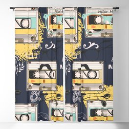 Fashion hipster pattern with cassette on shabby background Blackout Curtain