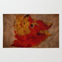 pomeranian Area & Throw Rugs featuring Pomeranian by Det Tidkun