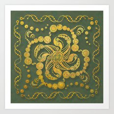Alien Inspiration Gold and Green Abstract Art Print