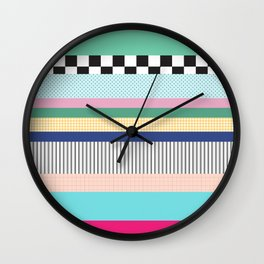 Stripes Mixed Print and Pattern with Color blocking Wall Clock