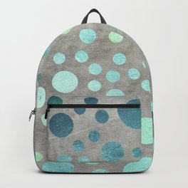Turquoise Metallic Dots Pattern on Concrete Texture Backpack