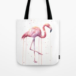 Pink Flamingo Portrait Watercolor Animals Birds | Facing Right Tote Bag