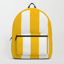 Golden poppy yellow - solid color - white vertical lines pattern Backpack