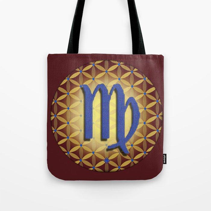 Flower of Life VIRGO Astrology Design Tote Bag