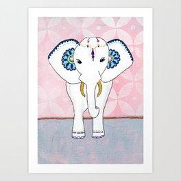 Spirit Elephant - Pink Art Print