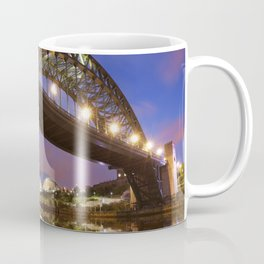 Bridges over the river Tyne in Newcastle, England at night Coffee Mug