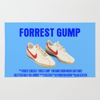forrest gump Area & Throw Rugs featuring Forrest Gump Movie Poster by FunnyFaceArt