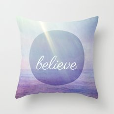 Believe {Purple Version} Throw Pillow