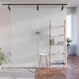 Minimal Protea Flower Illustration Wall Mural