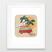 surfing Framed Art Prints featuring Surfing by Julia