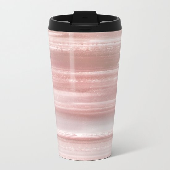 Geode Crystal Rose Gold Pink Metal Travel Mug