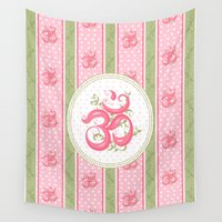 shabby chic Wall Tapestries featuring Shabby Chic Om by Genie Wilson