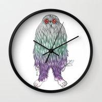 bigfoot Wall Clocks featuring BigFoot by Paz Art