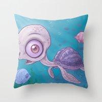 sea turtle Throw Pillows featuring Sea Turtle by John Schwegel