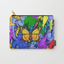 YELLOW MONARCH BUTTERFLIES FANTASY FLORAL ART Carry-All Pouch