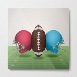 Helmet ball football america sport red brown blue green Metal Print
