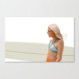 Surfer girl - vector illustration Canvas Print