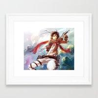 snk Framed Art Prints featuring Snk-Mikasa by Gin-Uzumaki