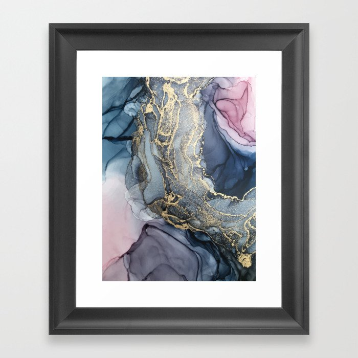 Blush, Payne's Gray and Gold Metallic Abstract Gerahmter Kunstdruck