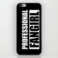 fangirl iPhone & iPod Skins featuring Professional Fangirl - Fangirl - Black by Kris James