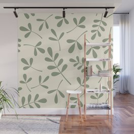 Green on Cream Assorted Leaf Silhouettes Wall Mural