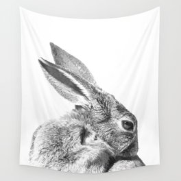 Black and white rabbit Wall Tapestry