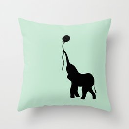 Elephant with Balloon - Mint Throw Pillow