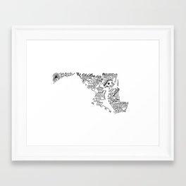 Maryland - Hand Lettered Map Framed Art Print