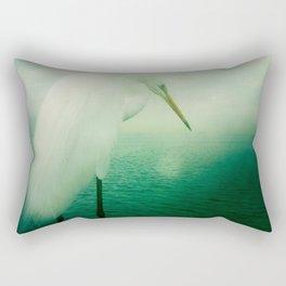 White Egret Rectangular Pillow