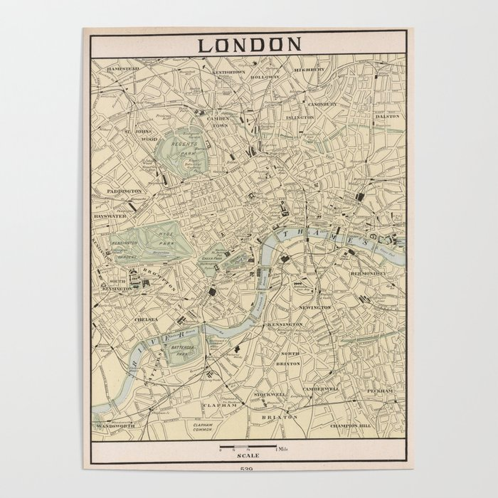Map Of England Vintage.Vintage Map Of London England 1901 Poster By Bravuramedia Society6
