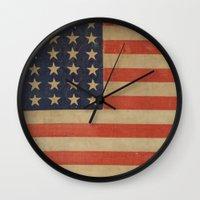 flag Wall Clocks featuring Flag by ART SHOP