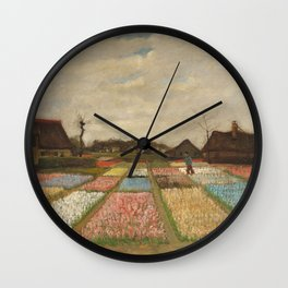 Classic Art - Flower Beds in Holland - Vincent van Gogh Wall Clock