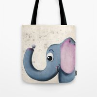 baby elephant Tote Bags featuring Baby Elephant by David Owen Breeding