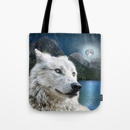 White Wolf and Moonlight Tote Bag