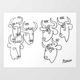 Pablo Picasso Bulls Artwork, Animals Line Sketch, Prints, Posters, Bags, Tshirts, Men, Women, Kids Art Print