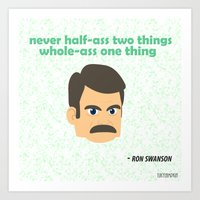 swanson Art Prints featuring Swanson by tukylampkin