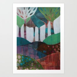 Day 1 In The Woods, Contemporary Abstract Landscape Art Print